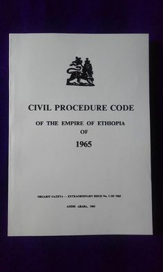 Official Imperial English Translation of the Civil Procedure Code of the Empire of Ethiopia, Given by the King in 1965. Reprint.250 pages. // B&W