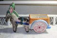 Vintage Large Occupied Japan Donkey Cart Planter