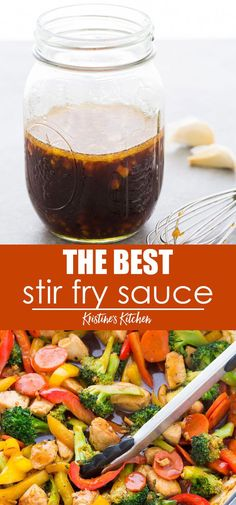 The BEST easy Stir Fry Sauce Recipe! Use this simple homemade sauce in your favorite stir fry recipes - chicken beef shrimp or vegetable stir fry. This healthy stir fry sauce is made with ginger garlic and honey and can be spicy or not spicy. Healthy Stir Fry Sauce, Thai Stir Fry Sauce, Chinese Stir Fry Sauce, Healthy Chicken Stir Fry, Stir Fru Sauce, Keto Stir Fry Sauce Recipe, Simple Chicken Stir Fry, Vegetarian Stir Fry Sauce, Chicken Stir Fry Marinade
