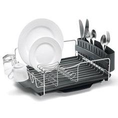 The Container Store > Advantage Dish Rack System. More space, removable drying tray that can be used as additional drying space. $49.99