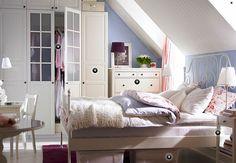 White + baby blue, baby pink and dark purple #Bedroom