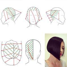 Hair Cutting Techniques, Hair Color Techniques, Cool Haircuts, Hairstyles Haircuts, Hair Chart, Angled Bobs, Corte Y Color, Medium Hair Cuts, Beautiful Long Hair