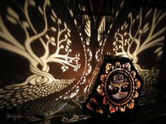 Tree of life tetrahedron shadow lamp -art, decorative shadow lamp, geometric shape for relaxing, meditation, unique, hand made light night