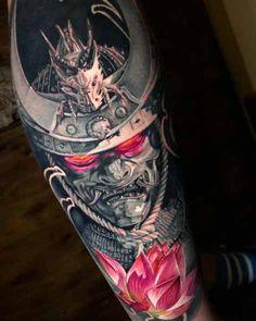 Samurai Mask, tattoo by Guillermo Moreno – Tattoos – Cozy Places Samurai Maske Tattoo, Hannya Maske Tattoo, Samurai Tattoo Sleeve, Oni Mask Tattoo, Samurai Warrior Tattoo, Shoulder Armor Tattoo, Warrior Tattoos, Badass Tattoos, Irezumi Sleeve