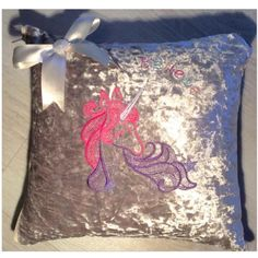Handmade unicorn cushion with bow. Crushed velvet. Made in