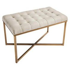 Threshold™ Tufted Bench - Cream and Gold : Target Mobile