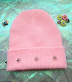 PINK+SPIKED+BEANIE//+Kawaii+Grunge+//+Pastel+by+holographicdreamz,+$23.00