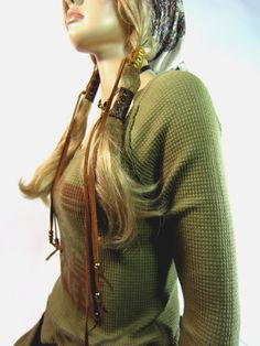 2 Leather Hair Wrap Extnsions Corset Ponytail by Vacationhouse, $38.00
