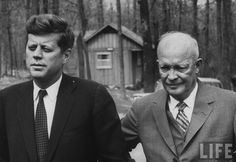 Pres. Kennedy talking w. former Pres. Eisenhower  re: Cuban Missile Crisis; at Camp David.  Location: Camp David, MD, US  Date taken: April 1961     Photographer: Ed Clark  Life Images  http://www.anglonautes.com/hist_us_20_cold_war/hist_us_20_cold_war.htm