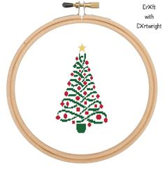Traditional Christmas tree in festive red gold and gree, cross stitch pdf pattern by CraftwithCartwright