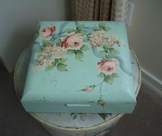 Vintage wooden box signed and hand painted in aqua with pink roses, lilacs and blue bow.  eBay (sold for $34 - what a bargain!)