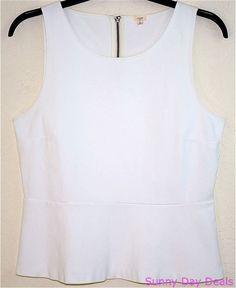 J Crew Top Cotton Sleeveless Peplum Ponte Exposed Zipper Solid 05443 White L #JCrew #Peplum #Versatile