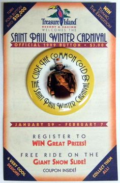 f90ebb8c4f1 Vintage 1999 St. Paul Minnesota Winter Carnival Button