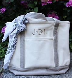 Jenniferisarose Dresses Up Her Lands End Canvas Tote With A Bandana To Add