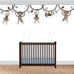 Monkey Wall Decals, Monkey Decals, Monkey Nursery, Swinging Monkeys, Hanging Monkeys, Boys Nursery Wall Decals, Vinyl Decals, Monkey Prints