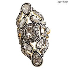 Rose Cut 1.25 Ct Diamond 925 Sterling Silver Vintage Look Ring 14K Gold Jewelry #Handmade