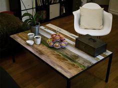Creation MAD Table basse Acier / bois recyclé