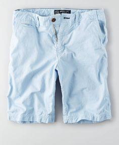 AEO Longer Length Flat Front Short, Men's, Light Blue