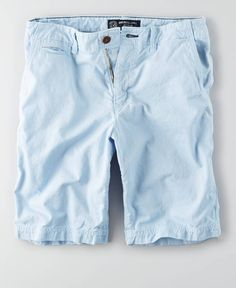 AEO Longer Length Flat Front Short, Men's, Light Blue