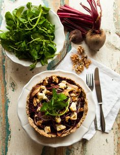 Beetroot tarte with walnuts, feta cheese and watercress. Follow me on Instagram for more: instagram.com/iamlealou/