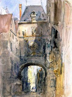 Tour d'Horloge, Rouen David Cox (1829) Tate Britain Painting - watercolor