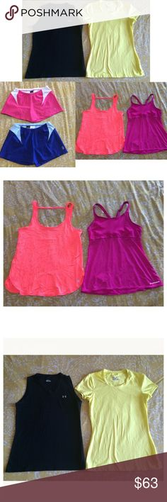 WORKOUT CLOTHES BUNDLE UA Nike VSX Brooks sz S/M Great bundle of workout clothes! All in used condition, but still tons of life left! Smoke free home. What's included: ⚡️1 Under Armour Heat Gear fitted top sz S ⚡️1 Under Armour black sleeveless top sz S (shows wash wear) ⚡️1 Victoria's Secret VSX Sport loose tank Sz Small (runs big) ⚡️1 Brooks tank with built in bra sz Medium 34AB-36A ⚡️2 pairs Nike Dri Fit shorts sz M 8-10. Both have inside drawstrings and a small pocket in the back for…