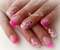 Fucsia fluo perfilino rosa french bianco pois strisce rose Summer French Nails, French Tip Nails, Fancy Nails, Pretty Nails, Pastel Nails, Pink Nails, Flower Nail Art, Toe Nail Designs, Hot Nails