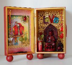 Blessings of Love shrine - Chaska Peacock, artist. Simple cigar box shrine, love the ball feet