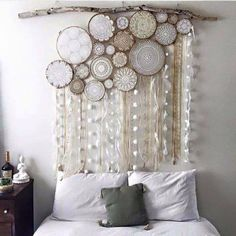 Vintage doily dream catcher. You can totally make this! Use mom's or grandma's doilies or find some for just a few dollars at thrift stores. Put them in embroidery hoops, attach together then add ribbon and/or lace.  From ReBlinged on Facebook