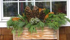 42 Cheap and Easy Fall Window Boxes Ideas - decortip Winter Window Boxes, Window Planter Boxes, Winter Flowers, Flower Boxes, Flower Bouquet Wedding, Winter Garden, Winter Christmas, Christmas Ideas, Amazing Flowers