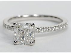 Cushion Cut Petite Pavé Diamond Engagement Ring in 14k White Gold