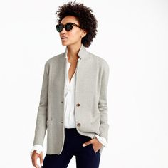 Introducing our new favorite way to layer: this sweater-blazer (in perfect-weight merino wool) is feminine and fitted, with a slightly longer length.