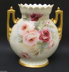 Antique Large Hand Painted Limoges Porcelain Roses Latrille Freres Vase 1889