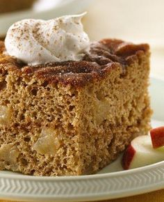 Five ingredients + three steps = the easiest fall cake recipe you'll ever make. The timeless combo of apples and cinnamon is sweet and slightly spicy—top with a scoop of pecan ice cream and a drizzle of caramel syrup for a candy apple-style treat. Apple Cinnamon Cake, Apple Spice Cake, Easy Apple Cake, Apple Dump Cakes, Apple Pie, Cinnamon Spice, Fall Cake Recipes, Apple Recipes, Spice Cake Mix Recipes