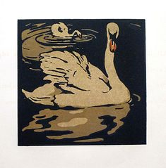 """The Beautiful Swan; color lithograph print from """"The Square Book of Animals published by R.H. Russell, NY by William Nicholson"""