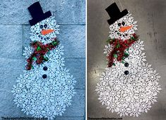 Dollar Store Snowflake Snowman Materials: Dollar store snowflake ornaments about boxes (up to 30 snowflakes used- depends on the size of snowflakes and how large you desire your snowman to be) Garland Buttons Orange felt Black felt String or. Dollar Store Christmas, Dollar Store Crafts, Christmas Art, Christmas Projects, Dollar Stores, Christmas Wreaths, Christmas Ornaments, Snowflake Ornaments, Christmas Ideas