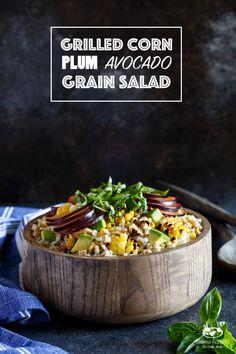 Vegan Grilled Corn, Plum, and Avocado Grain Salad
