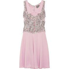 Zac Posen Tweed Vest-Effect Silk-Blend Dress ($400) ❤ liked on Polyvore featuring dresses, vestidos, vestiti, zac posen, women, sleeveless dress, embroidered dress, pink cutout dress and no sleeve dress