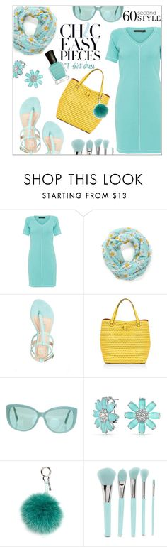 """Easily Chic=T-shirt dress"" by jckallan ❤ liked on Polyvore featuring Biana, Karen Millen, Linda Farrow, Bling Jewelry, Fendi, Forever 21, Deborah Lippmann, tshirtdresses and 60secondstyle"