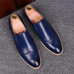 New Handmade Men Blue Leather Moccasins, Men Blue Loafer Slip Ons Shoes - Casual