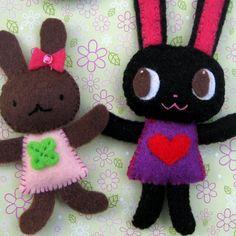 Chacha and Riri Bunny Dolls and Hairpin por yuzucha en Etsy
