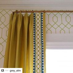 wallpaper and drapes with trim