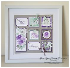 Blue Rose Paper Treasures: Frosted Floral Fun Fold Cards and x Frame Box Frame Art, Shadow Box Frames, Fancy Fold Cards, Folded Cards, Collage Frames, Collages, 3d Frames, Paper Crafts, Diy Crafts