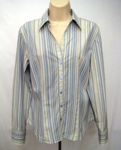 ANN TAYLOR Womens Size 6 White Blue Stripe Blouse Top Long Sleeve Button Front #AnnTaylor #Blouse