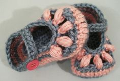 Baby Girl Crochet Blue with Pink Puff Booties, Baby Shower gift, Handmade in the USA #192 - pinned by pin4etsy.com