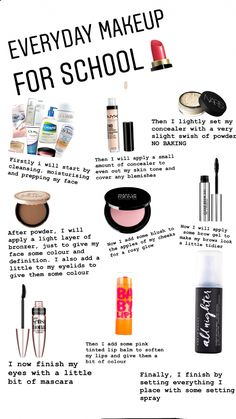 Everyday skincare and makeup routine for teens and adults! This look seriously . - Everyday skincare and makeup routine for teens and adults! This look seriously only takes five min - Make Up Kits, No Make Up Make Up Look, Everyday Makeup For School, Natural Everyday Makeup, Natural Beauty, Middle School Makeup, Natural School Makeup, Make Up School, Easy School Makeup