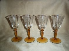 Vintage Tiffin Cordial Glasses with Etched Sunflowers and Amber Twist Stem