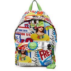 Moschino Pop Culture Printed Backpack ($570) ❤ liked on Polyvore featuring bags, backpacks, multicolor, real leather backpack, leather rucksack, leather daypack, moschino backpack and genuine leather backpack