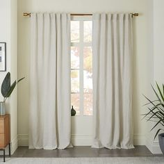 Belgian Flax Linen Curtain - White