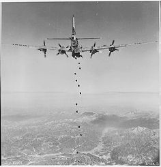 A Boeing B-29 over Korea. During WWII the advanced B-29 was more or less immune to Japanese fighter interception but this changed during Korea when they encountered the Mig-15 jet. B-29s sustained heavy casualties and were forced to conduct operations at night.